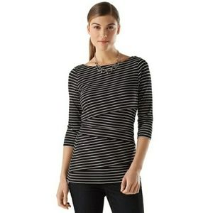 WHBM black striped layered front top small